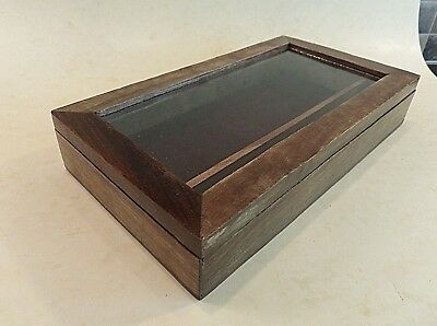 Vintage Small Walnut Display Case/ Box With Glass Lid & 2 Interior Compartments