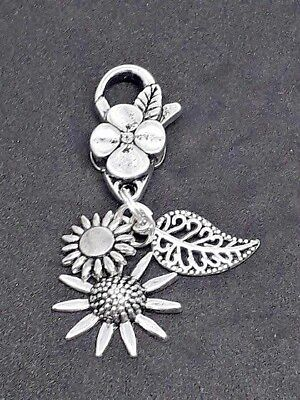 CLIP ON BAG CHARM Tibetan Silver Nature theme SUNFLOWER Leaf Flower Pretty