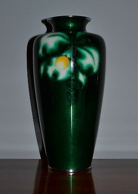 Old Japanese Large Signed Ando Cloisonne Vase Green Ground Floral Design
