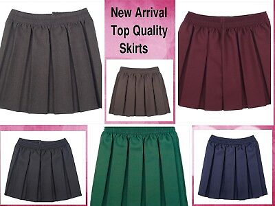 Girls School Skirts Box Pleated Elasticated Waist Skirt Kids School Uniform New