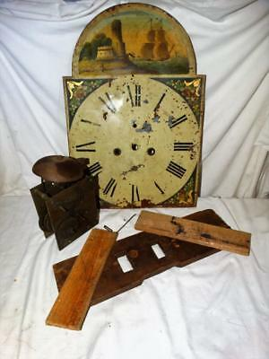 Antique Grandfather Clock Hand Painted Face,movement & Bell,sailing Ships,castle