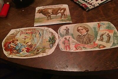 3 Diff. CIGAR BOX LABELS 1880's RARE TRIMMED very early