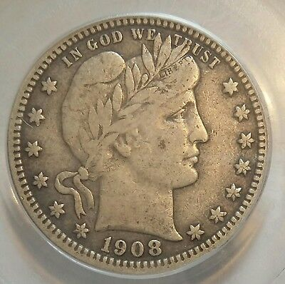 1908-S Barber Quarter  PCGS VF25