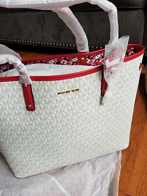 1fd8a4846995 ... 50% off nwt michael kors carter large tote signature color vanilla  begonia aa5fc 4442f
