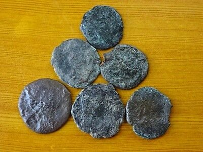 Lot of 6 Ancient Roman Bronze Coins 4th Century AD Very Rare / Low quality