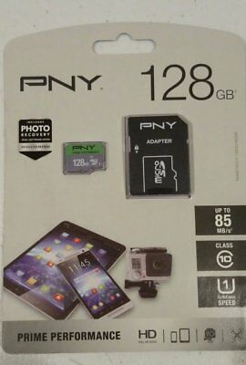 PNY 128GB Elite Performance C10 Memory Card With Adapter 85MB/S