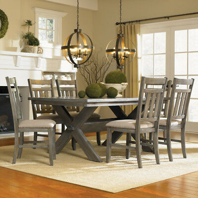 Farmhouse 7 Piece Dining Table Set Grey Wood Rectangle 6 Chairs