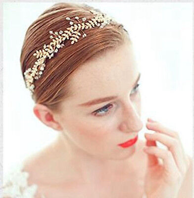 Handmade Austrian Crystal Pearl Floral Wedding Bridal Hair Vine Ribbon Headband