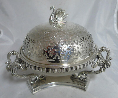 Antique Silver Plated & Glass Covered Dish A656817