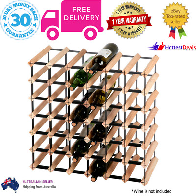 Timber Wine Rack 42 Bottle Wood Steel Storage Organiser Tidy Structure Display
