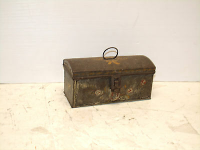 Early Primitive Antique Smaller American Tole Ware Dome Top Document Box
