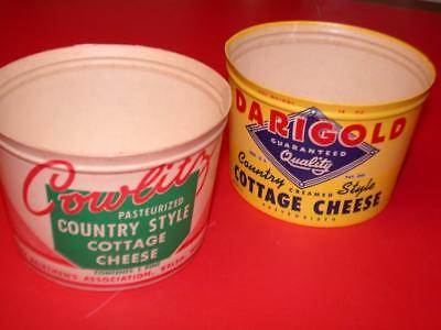 2 Vintage 1950's 1960s Dixie DARIGOLD & COWLITZ COTTAGE CHEESE  PAPER Tubs CUPS