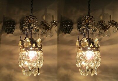 A Pair of Antique Vintage Basket Style Mini Chandelier lamp 1940s 5,6 in dmtr