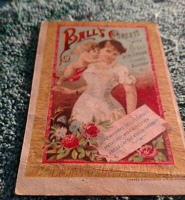 Victorian Trade Card 1880's BALL'S CORSET W.W. Angel, Clayton, New York