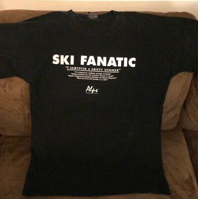 "ALPS Ski Skifahren T-Shirt Gr. L SKI FANATIC   ""I survived a shitty summer"""