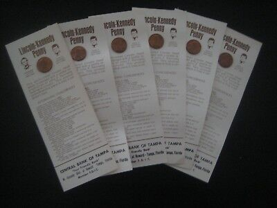 1973 D Abe Lincoln JFK John Kennedy face Penny lot 6 Card Central Bank Tampa AD