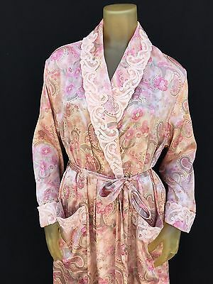 CABERNET ~ SILKY SATIN PAISLEY FLORAL Embroidered Collar   cuffs Long Robe  Small 1463e3ecb