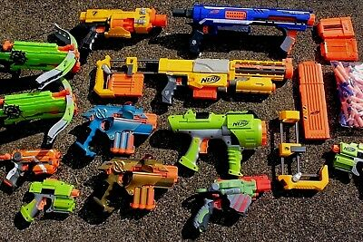12+pcs NERF Lot~NStrike CS6 Rifle+Extension,Rampage,Phoenix Lasers,Magazines+ETC