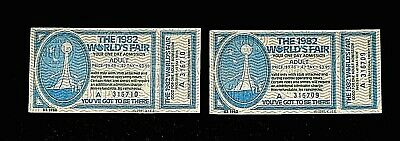 1982 Worlds' Fair Adult Tickets (2) With Stub Attached (No Holes)