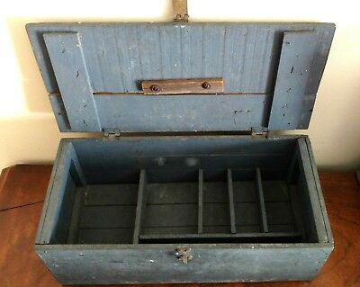 Old/Vintage Painted Fishing Tackle Box w/ dividers