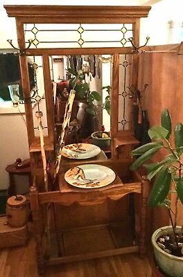 RARE Vintage Pulaski KEEPSAKE Solid Golden Oak & Stained Glass Lighted Hall Tree