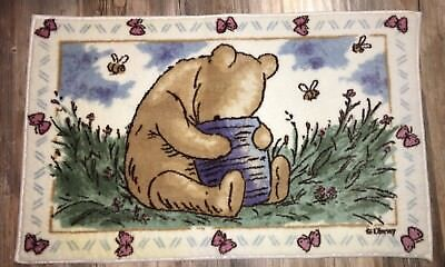 """Sweet Winnie the Pooh Throw Rug 36"""" x 22"""" Thick with Rubber Mat Disney"""