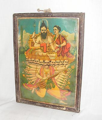 A Unique Very Rare Print Of Maha Dev / Shiva Parvati And Ravna In Good Condition