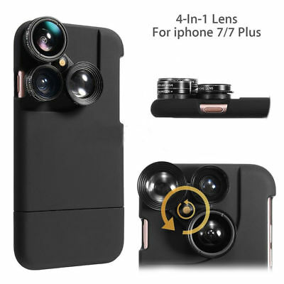 4 in1 Camera Lens Kit Fisheye Macro Wide Angle Lens Case For iPhone 8 6 7 Plus