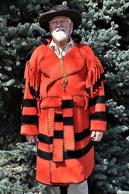 Wool Blanket Capote - Coat,  2XL, Red w/ Black Stripes,  Muzzleloaders, Hunters