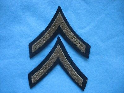NOS WWII US Army matched pair Private Stripes OD Green on black wool, Mint.