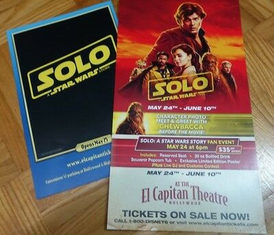 SOLO : A Star Wars Story - 2 promo flyers (Hollywood) El Capitan Theater