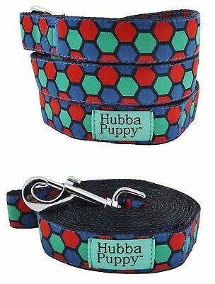 Large 6ft & Small 4ft Dog Leash Geometric Hexagon Blue Green Red by Hubba Puppy
