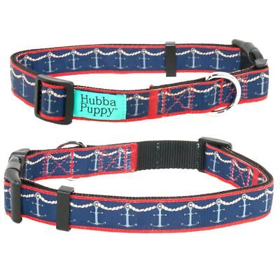 Nautical Ropes & Anchors Cute Dog Collar Navy and Red XS S M L XL by Hubba Puppy