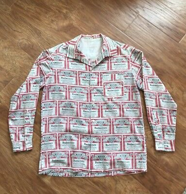VTG 1960's/1970's Button Up Budweiser Beer Shirt Thin Soft ALL OVER PRINT RARE!