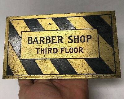 Vintage Barber Shop on 3rd Third Floor Etched Brass Enamel Sign Striped