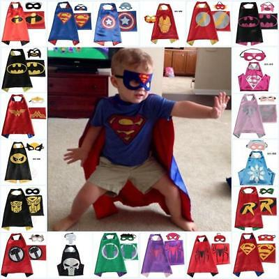 **Kid Super Hero Cape Mask Christmas Fancy Costume Boy Girls Cosplay Outfit 2018