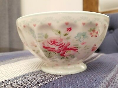GreenGate White Pink Mint Floral Soup Bowl Danish Design Shabby Chic Farmhouse