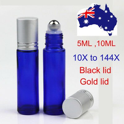 10X~144X BLUE 5ml 10ml THICK Glass Roll On Bottles Roller Ball fo Essential Oils