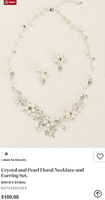 David's Bridal Crystal Pearl Floral Necklace & Earring Set, NCT258, Silver $100