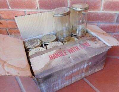 """Mint Boxed 12 Flawless Fowlers #31 Vacola 4"""" Glass Preserving Jars Reg No 28195"""