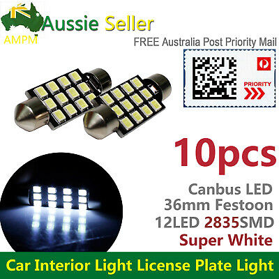 10pcs 36mm Festoon LED White Car Interior Dome License Plate Door Footwell Light
