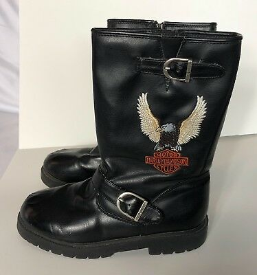 HARLEY DAVIDSON Size 3 Youth Boys Black Engineer Eagle Motorcycle Boots 61135