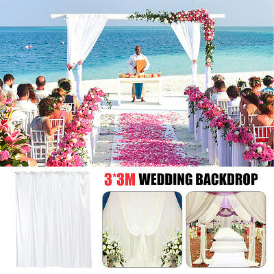 3X3M White Stage Wedding Party Backdrop Photography Background Drape Curtain New