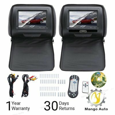 "7"" Black Car Headrest Monitors w/ DVD Player USB/HDMI + Games Controller 16:9 US"