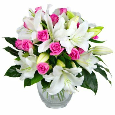 Clare Florist Rose and Lily Fresh Flower Bouquet - Splendid White Lilies and Gor