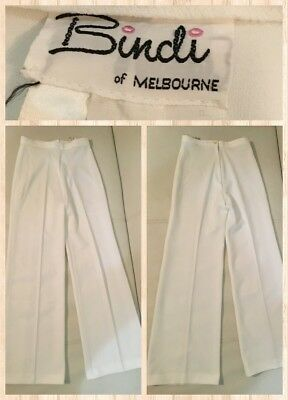 "Vintage Bindi Melbourne 70's High Waist Wide Leg Pants Size 28"" Immaculate White"