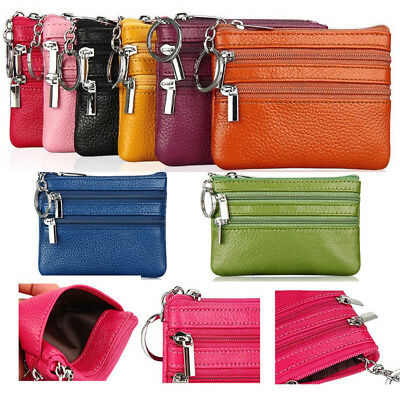 Womens Genuine Leather Coin Money Pouch Credit Card Key Holder Purse Wallet UK