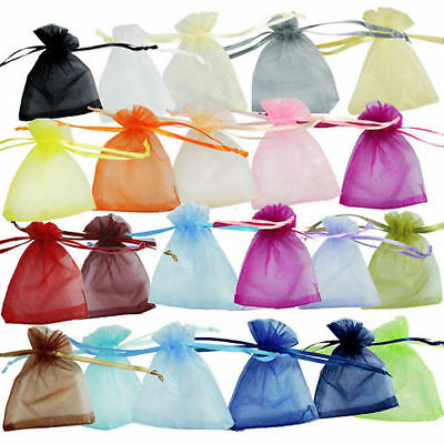 12/25/50/100 pcs New Organza Jewelry Wedding Gift Pouch Bags Multicolor optional