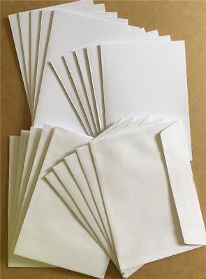 50 Pack - 25 A6 Blank Greeting Cards 210gsm quality white + 25 C6 Envelopes