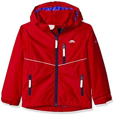 Trespass Hattrick, Red, 23, Waterproof Jacket with Removable Hood for KidsBoys